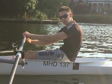 Adaptive rower Dan in the new boat
